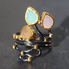 Siam Ring - 24k Gold and Oxidized Sterling Silver Green Chalcedony Rose Quartz and Peach Moonstone Cocktail Ring