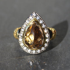 Rococo Ring - 24k Gold and Oxidized Sterling Silver Smokey Quartz Ring