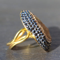 Mood Ring - 24k Gold Brazilian Earth Tone Druzy & Swarovski Crystal Cocktail Ring