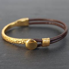 Chiang Mai Bracelet - 24k Gold and Sterling Silver Dipped Leather Cuff