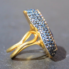 Mood Ring - 24k Gold, Sky Druzy & Swarovski Crystal Cocktail Ring
