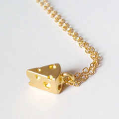 Cheese Fiend Necklace - 3D 18k Gold Swiss Cheese Charm Necklace
