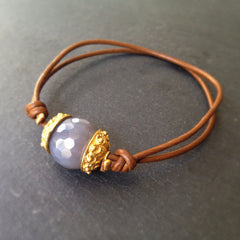 Chime Bracelet - 24k Gold Dipped Charm, Moonstone and Leather Bracelet