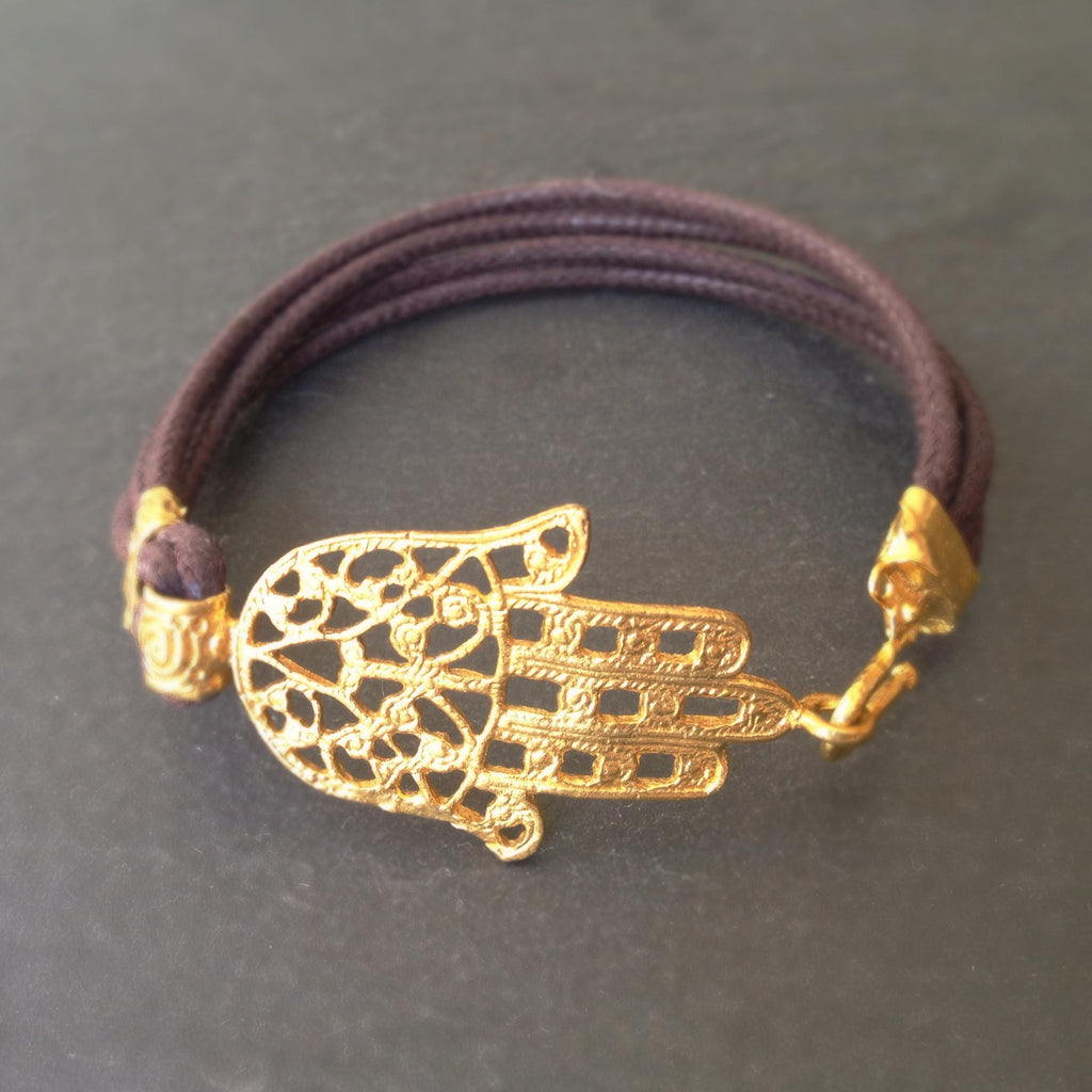 Hamsa Leather Bracelet - 24k Gold Dipped Hand of Fatima Cuff Bracelet