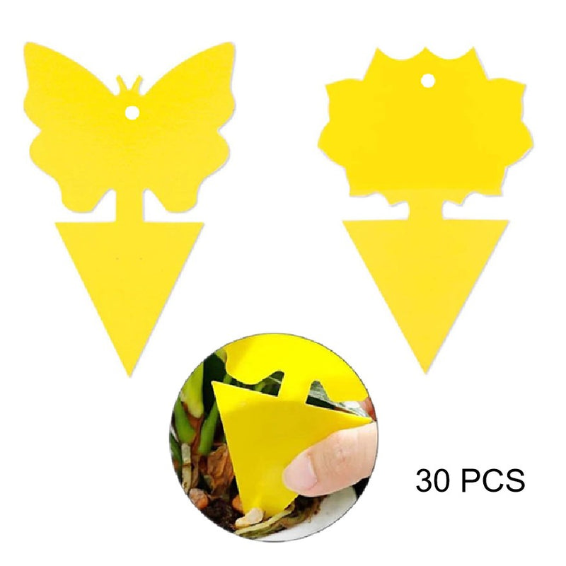 KMERLIFE Yellow Sticky Traps/Insect Catcher 30 PCS Dual-Sided for White Flies,Mosquitos,Fungus Gnats