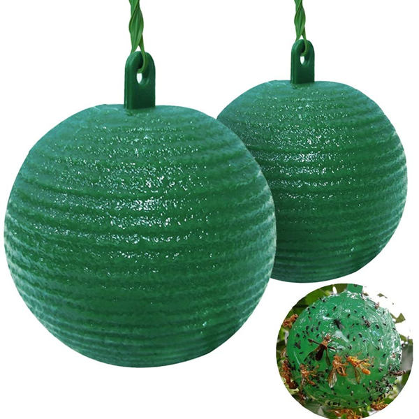 Hanging Fly Trap Ball Fruit Fly Catcher Insect Sticky Trap Outdoor 2PCS for House Plants Greenhouses