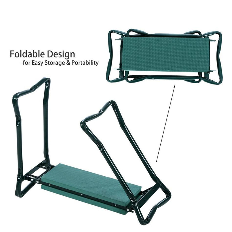 kmerlifee easy storage folding garden seat with tool pouch