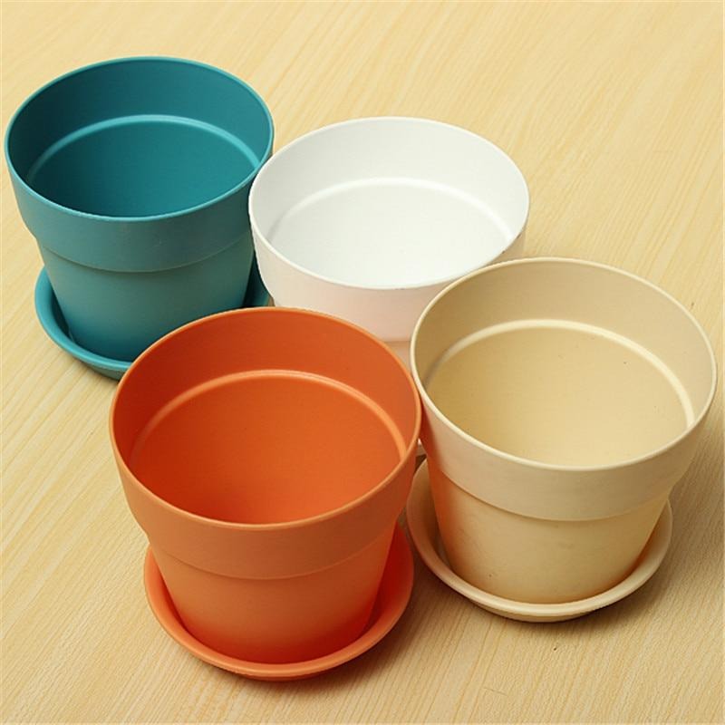 kmerlife plastic flower pot with tray