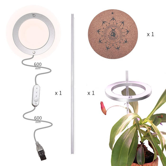 KMERLIFE Led Plant Grow Lights Indoor For Plants, Full Spectrum & Auto-Timer,Halo Ring Light Design