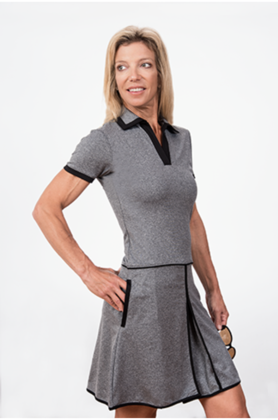 Charlotte Short Sleeve Golf Dress-Grey