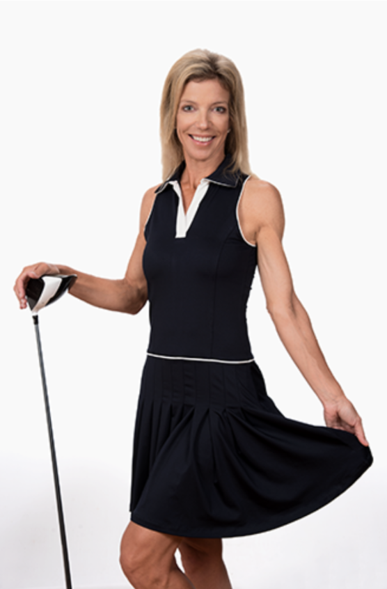 Julia Sleeveless Golf Dress-Navy