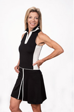 Sleeveless Color-Blocked Dress-Black