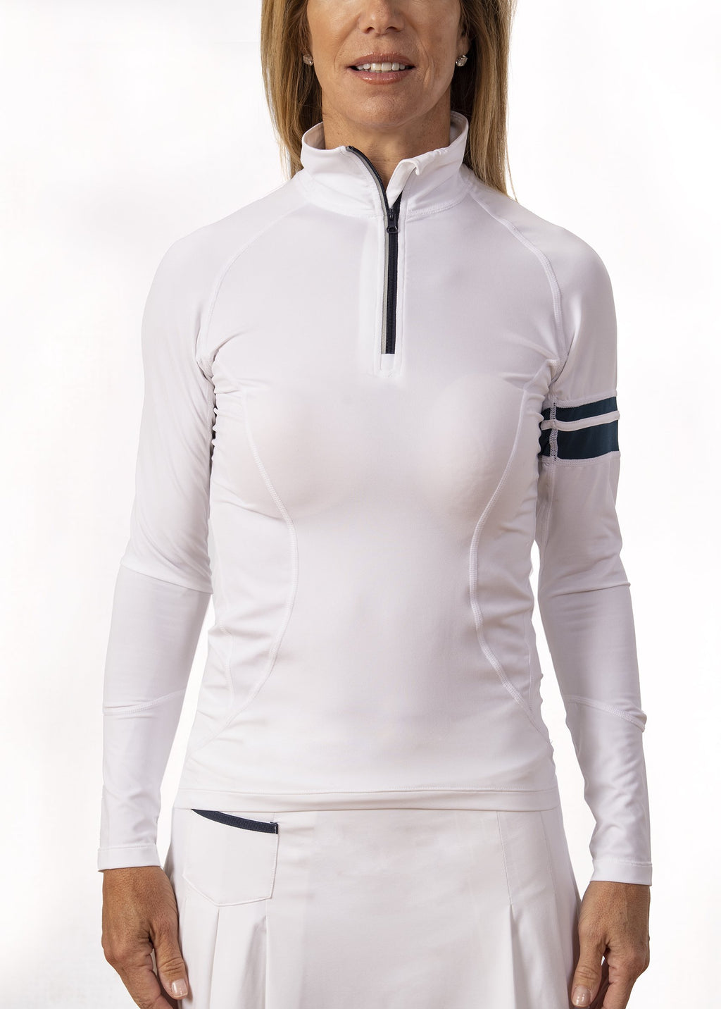 Pamela Long Sleeve Zip-Up - White/ Navy