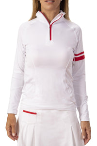 Pamela Long Sleeve Zip-Up - White/Red