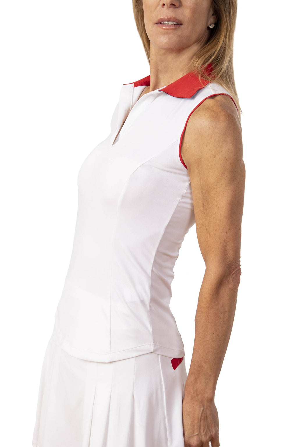 Annie Sleeveless Shirt- White/Red