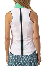 Annie Sleeveless Shirt- White with Navy accents