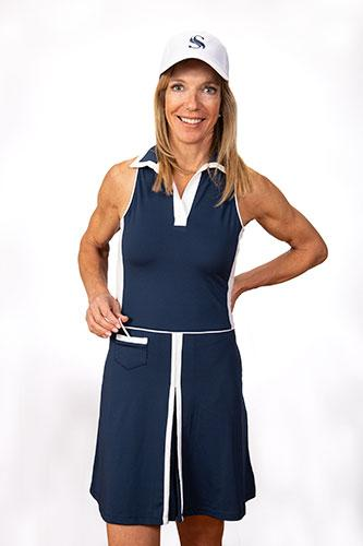 Nancy Sleeveless Golf Dress - Navy