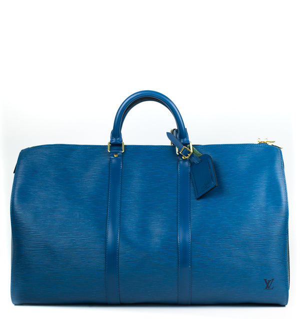 Sac à main LOUIS VUITTON Keepall en Cuir Bleu