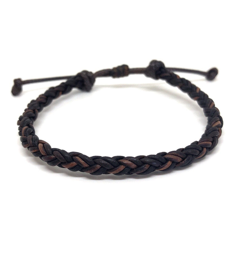 Brown Braided Leather Bracelet - Gifts&Knots