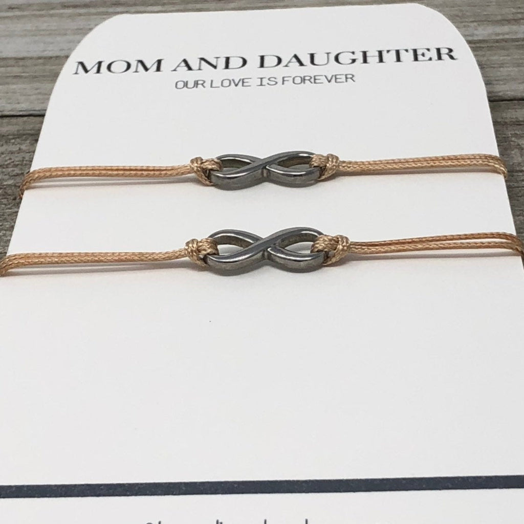 Mother and Daughter Bracelet Set, Infinity Bracelets - Gifts&Knots