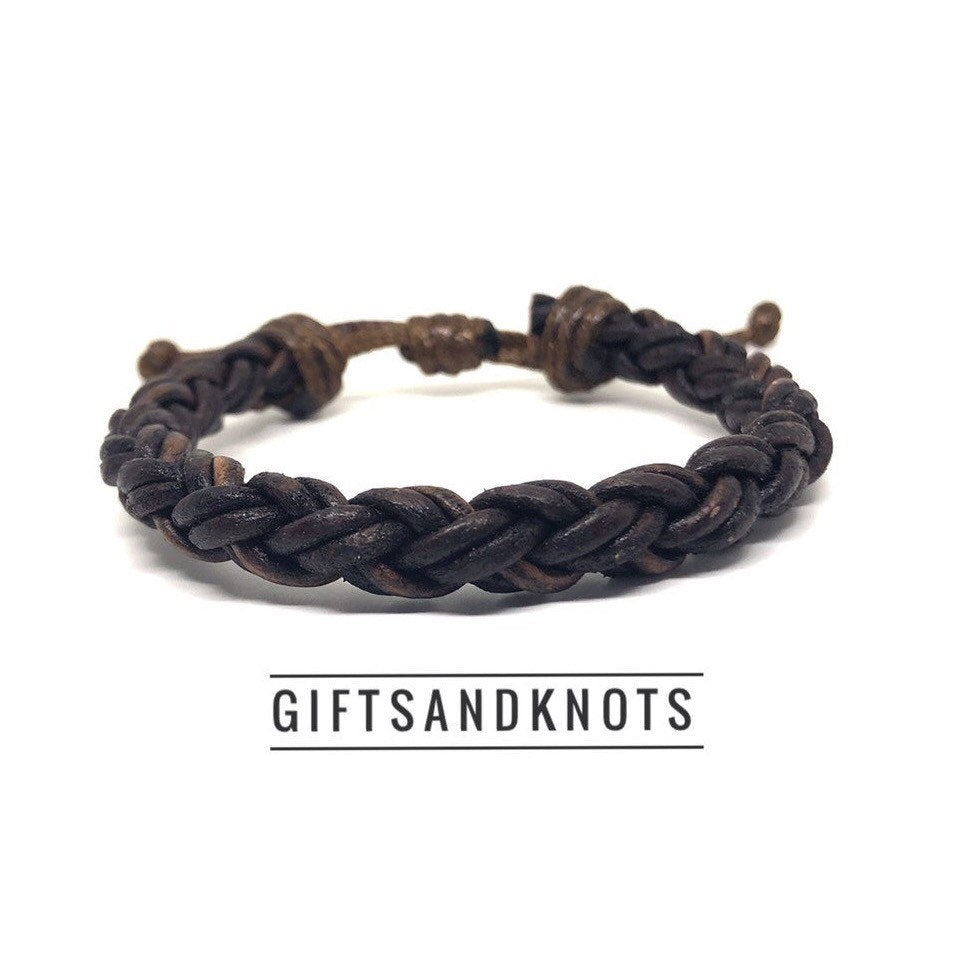 Thick Braid Leather Bracelet - Gifts&Knots