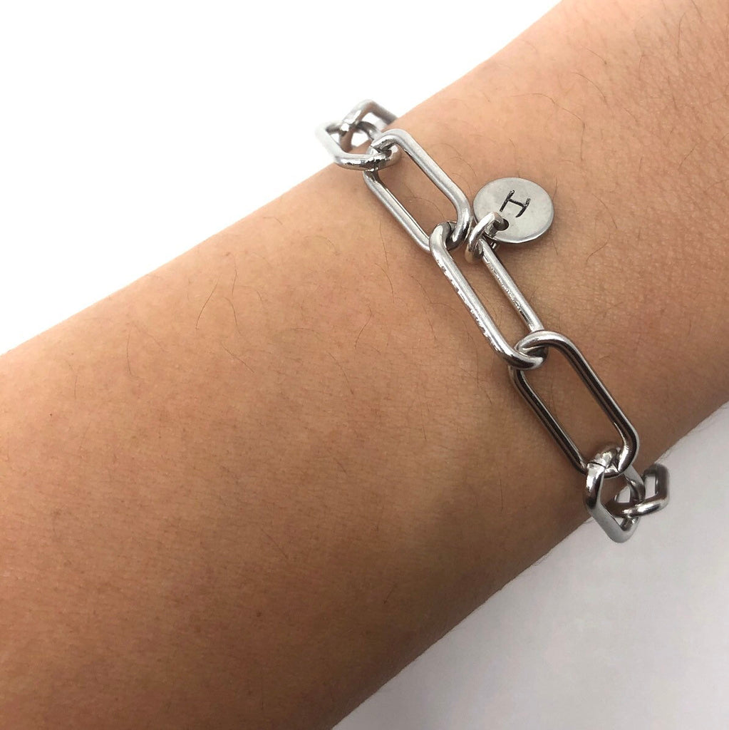 Initial Paperclip Stainless Steel Bracelet Anklet, Rectangle Chain Anklet
