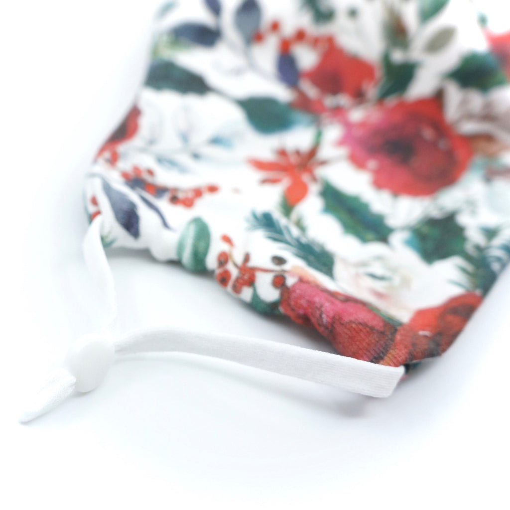 Christmas Red Florals Holidays Face Mask Organic Knit Cotton