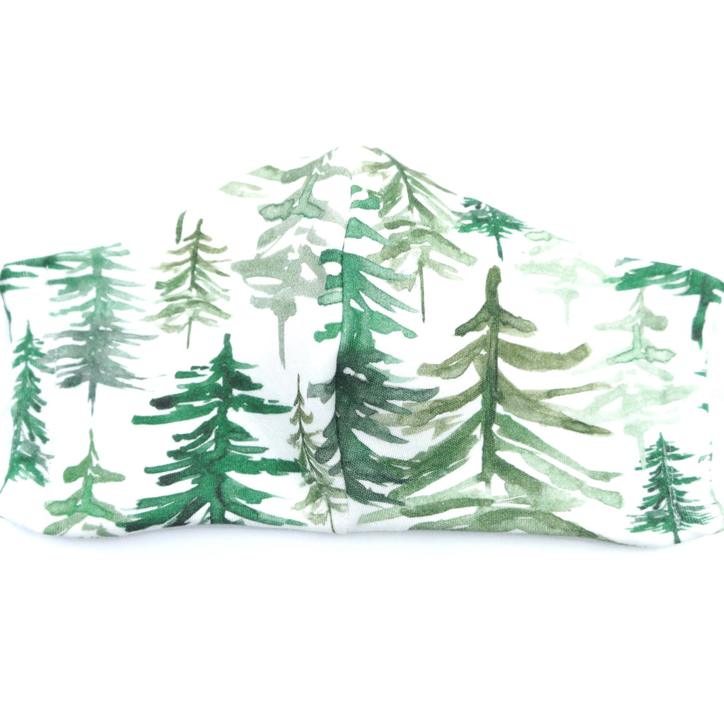 Forest Trees Holidays Face Mask Botanical Woodland Nature Lover Organic Knit Cotton Adult Child