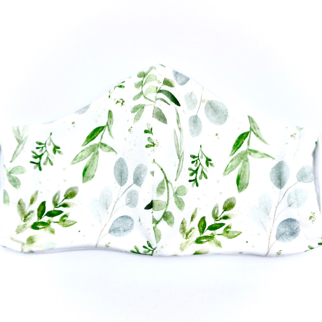 Eucalyptus Green Leaves Nature Face Mask 100% Boho Floral Botanical Organic Cotton Made in the USA