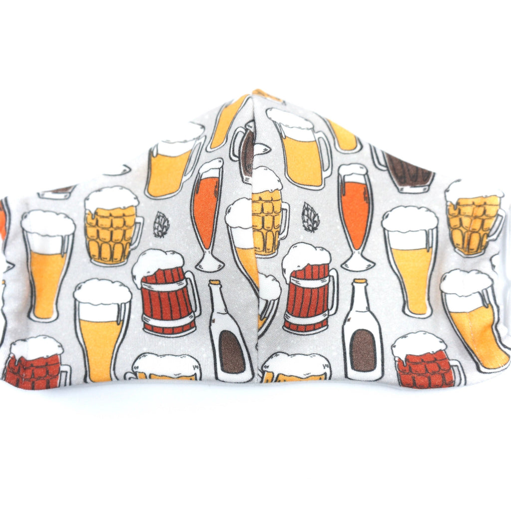 Beer Lover Light Gray Face Mask Organic Cotton Made in the USA