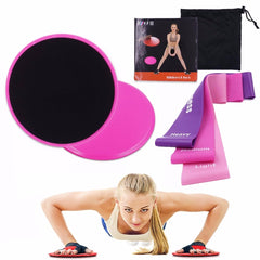 Set of Gliding Discs and 3 Resistance Bands