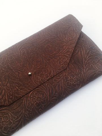 Marine Carved Leather • Clutch