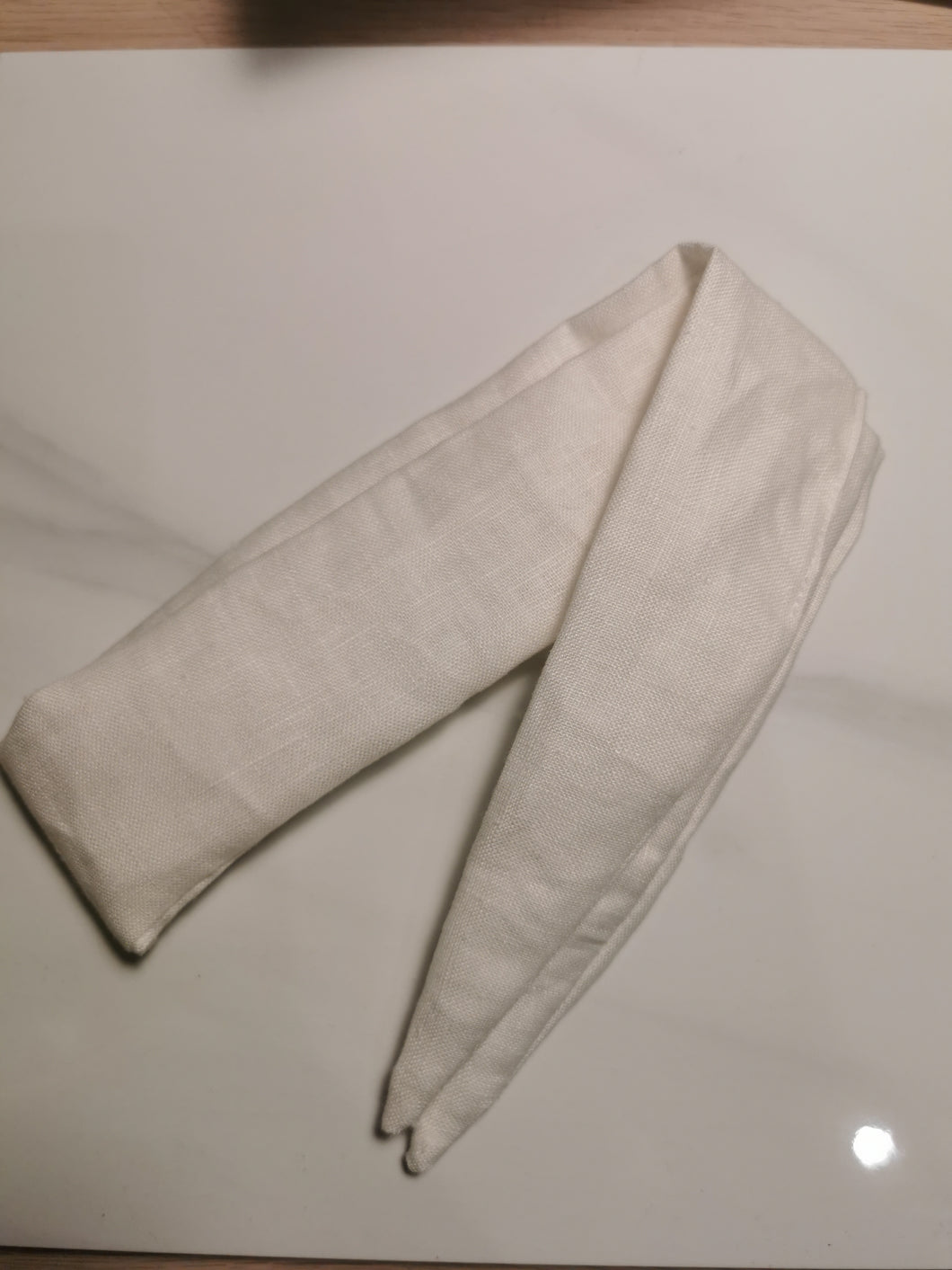 100% Linen Hair Scarf - White
