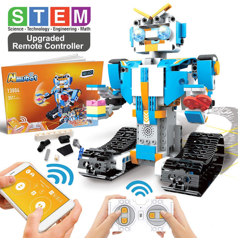 STEM white robot kit with upgraded remote controller