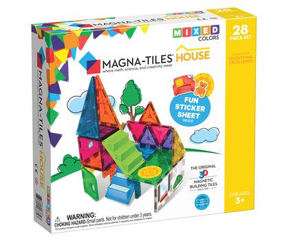 Magna-Tiles House Set, The Original, Award-Winning Magnetic Building, Creativity & Educational, Stem Approved, Solid & Clear Colors