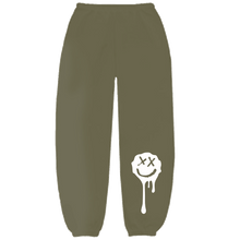 Load image into Gallery viewer, Olive Drip Smiley Sweatpants