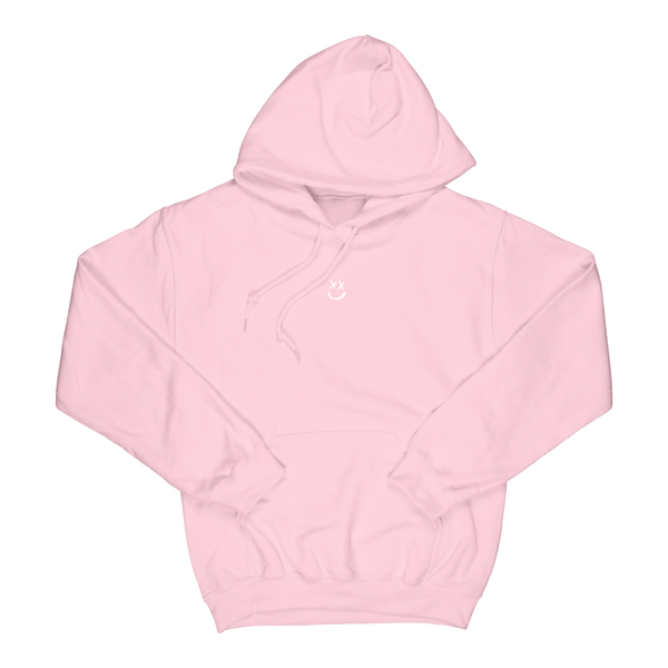 Smiley Walls Flock Print Pink Hoodie