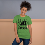Great peace is found in learning to be content