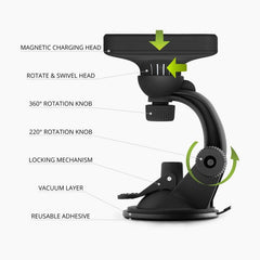 2-1 Car Charger Mount with Qi Wireless Charging built-in cooling fan for iPhone 11 / 11 Pro / 11 Pro Max / XS / XS Max / XR / Galaxy S10 / S10+ / S10e  rotatable adjustable viewing angle