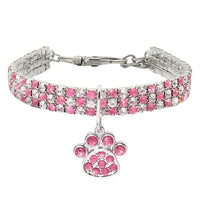 Rhinestone Jeweled Pet Necklace with Paw Print Charm 🚚 Shipped From US