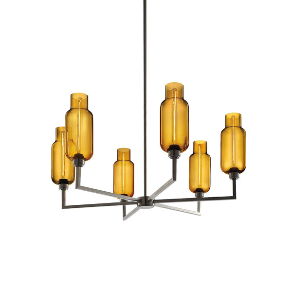 Quill 6 Chandelier with Amber Pharos Glass