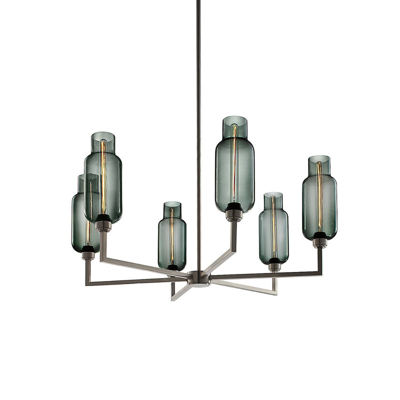 Quill 6 Chandelier with Gray Pharos Glass