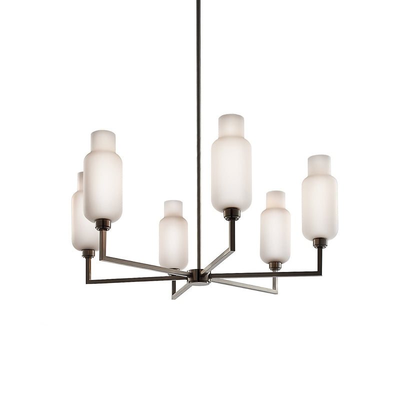 Quill 6 Chandelier with Opaline Pharos Glass
