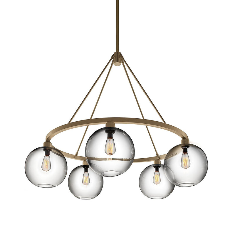 Satin Brass Solitaire Chandelier (240V)