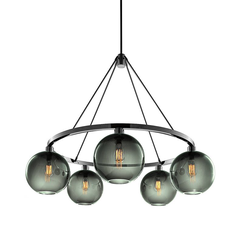Sola 36 Custom Chandelier with Gray Solitaire Glass