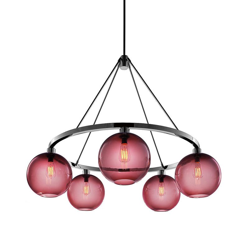 Sola 36 Custom Chandelier with Plum Solitaire Glass