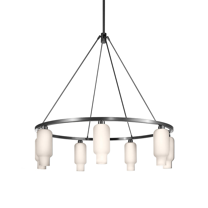 Sola 48 Custom Chandelier with Opaline Pharos Glass