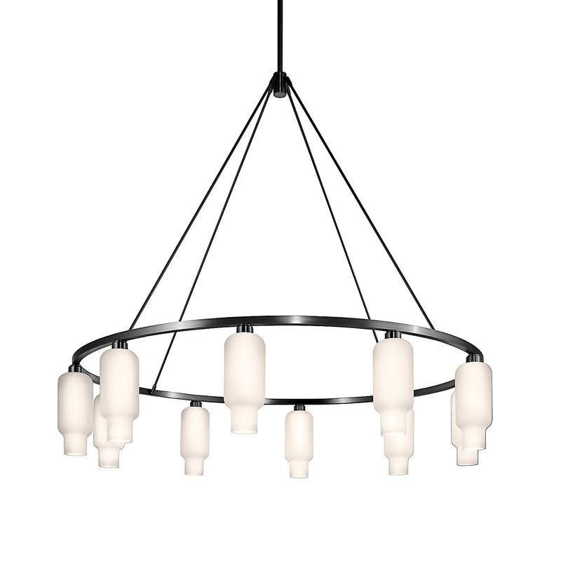 Sola 60 Custom Chandelier with Opaline Pharos Glass
