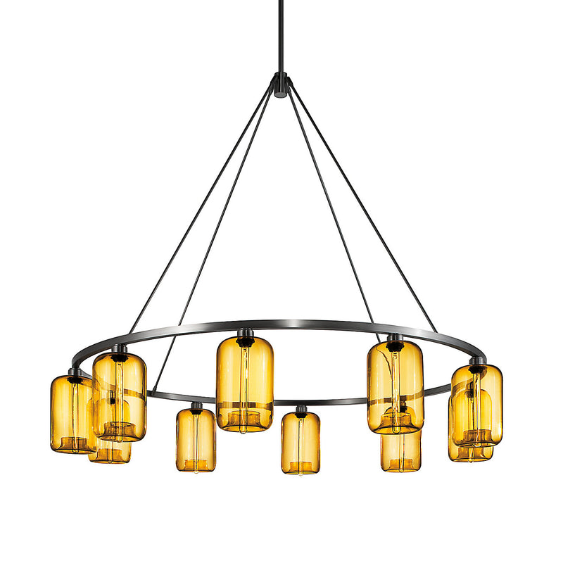 Sola 60 Custom Chandelier with Amber Pod Glass