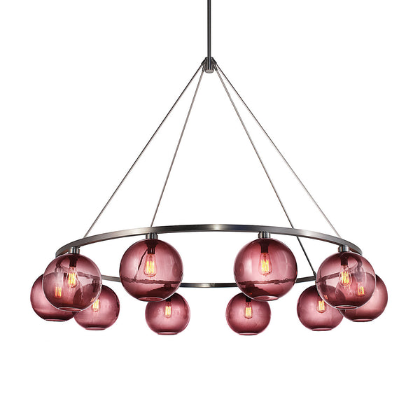 Sola 60 Custom Chandelier with Plum Solitaire Glass